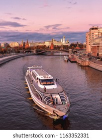 Russia, Moscow - October 22, 2017: Ship of Flotilla Radisson Royal. Moscow River Cruise.  The Moscow Kremlin, view from the Patriarchal bridge