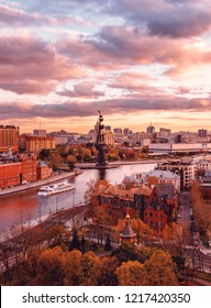 Russia, Moscow - October 22, 2017: Sunset from the observation deck of the Cathedral of Christ the Savior. View of the monument to Peter I, the Red October factory and the Radisson flotilla ship.