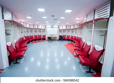RUSSIA, MOSCOW, OCTOBER 29, 2014: Locker-room the Spartak stadium to take part in the 2018 FIFA World Cup