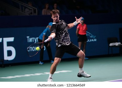 Russia. Moscow. Olympic stadium. October 14, 2018. Tennis player Ricardas Berankis  (Lietuva) in the qualifying match of VTB Kremlin Cup.