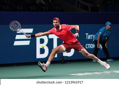 Russia. Moscow. Olympic stadium. October 17, 2018. Tennis player Karen Khachanov (Russia) in the 2-nd round match of VTB Kremlin Cup.