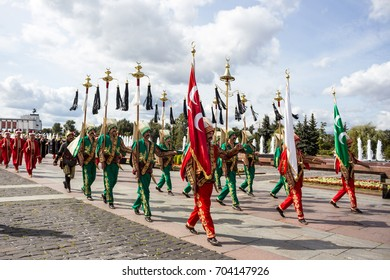 "RUSSIA, MOSCOW, Poklonnaya Gora - AUGUST 27, 2017: Parade of participants of International Military Music Festival Spasskaya Tower. ""Mehter"" orchesra, town Iznik, Turkey. Free admission."