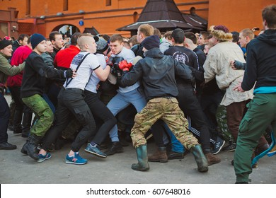 Russia. Moscow. Red Square. February 26, 2017. a mass fight of hooligans and fans