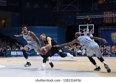 Russia. Moscow Region. Arena Mytishchi. January 8, 2019 ã. Jordan Mickey, Kostas Sloukas and Tony Crocker during the Euroleague match 2018/2019 between Khimki (Russia) - Fenerbahce (Turkey)