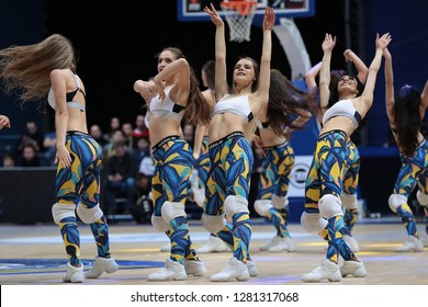 Russia. Moscow Region. Arena Mytishchi. January 8, 2019 ã.  Dancers of the support group of Khimki during the Euroleague match 2018/2019 between Khimki (Russia) - Fenerbahce (Turkey)