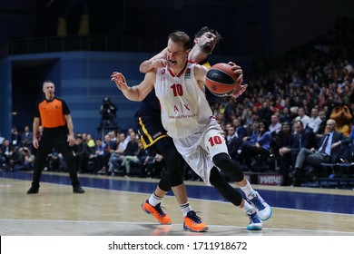 Russia. Moscow Region. Arena Mytishchi. November 14, 2019. Michael Roll & Alexey Shved during the Euroleague basketball match 2019/2020 between Khimki (Russia) & Olimpia Milan (Italy)