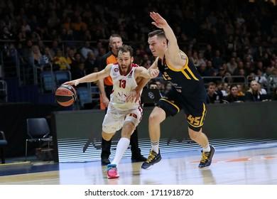 Russia. Moscow Region. Arena Mytishchi. November 14, 2019. Sergio Rodriguez & Dairis Bertans during the Euroleague basketball match 2019/2020 between Khimki (Russia) & Olimpia Milan (Italy)