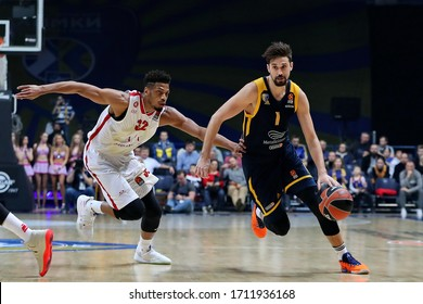 Russia. Moscow Region. Arena Mytishchi. November 14, 2019. Jeff Brooks & Alexey Shved during the Euroleague basketball match 2019/2020 between Khimki (Russia) & Olimpia Milan (Italy)
