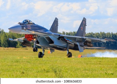 Russia, Moscow region, August, 2016. The SU-35 fighter makes landing to airfield.