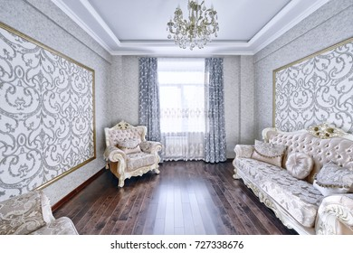 Russia, Moscow region - Interior design living room in luxury new apartment.