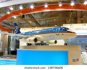 Russia, Moscow region, June 29, 2012 - Model of the aircraft Sukhoi Superjet 100