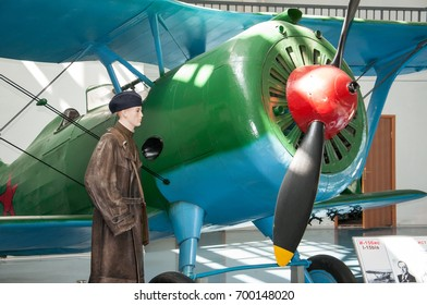 RUSSIA, MOSCOW REGION, MONINO, - August 09, 2017: Museum of the air force. The fighter I-15 bis, construction N. Polikarpov