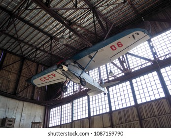 RUSSIA, MOSCOW REGION, MONINO - MAY 9, 2018: Soviet combat helicopters in the Air Force Museum.  was established in 1960. Central Air Force Museum, museum exhibits and parts of aircraft.