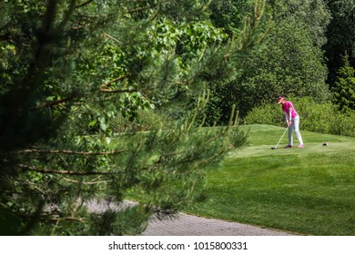 Russia Moscow region Nakhabino 05.31.2016 The sportive woman in a pink shirt is playing golf on golf course with gorgeous green. Sunny day. Active senior lifestyle. The trees and forest as background