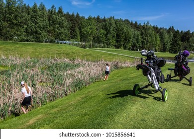 Russia Moscow region Nakhabino 05.31.2016 Set of golf clubs in a golf bag with green grass. The young sportive female golfers looking for a golf ball in a high dry grass. Blue sky forest as background