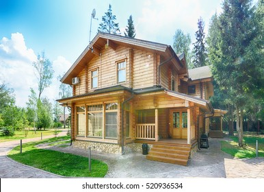 Russia, Moscow region, wooden house in the cottage