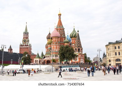 Russia, Moscow, September 11, 2017: St. Basils cathedral on Red Square in Moscow