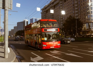 Russia, Moscow, September 2015 - Novy Arbat Street. Tourist two-story red bus in the street