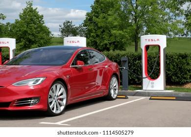 Russia, Moscow, SKOLKOVO Golf club, may 14, 2018. Tesla electric car on charging.