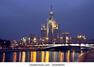 Russia. Moscow. Skyscraper on  embankment. One of the �«high-rise buildings built in the mouth of the Yauza in 1948-1952. Height is 176 m