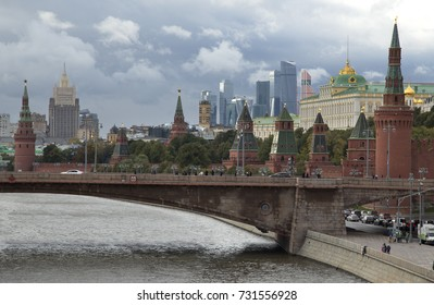 Russia, Moscow, view on Kremlin on against dramatic cloudy sky.
