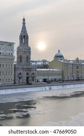Russia. Moscow. View on Sophia quay and The Church of St. Sophia Bell-Tower across Moskva river in winter