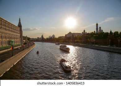 Russia. Moscow. View of the Moscow river and the Kremlin.