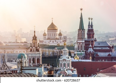 RUSSIA, MOSCOW VIEW FROM THE TOP DATE 09.04.2017. THE MAIN CATHEDRAL RUSSIA THE CATHEDRAL OF CHRIST THE SAVIOR.