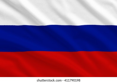 Russia national flag on the fabric texture background