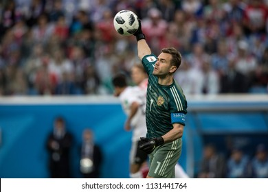 Russia national football team goalkeeper Igor Akinfeev during the match against Egypt at FIFA World Cup 2018. June 19th 2018, Saint-Petersburg Stadium.