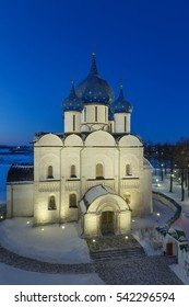 Russia. Nativity Cathedral of Suzdal Kremlin in winter night.