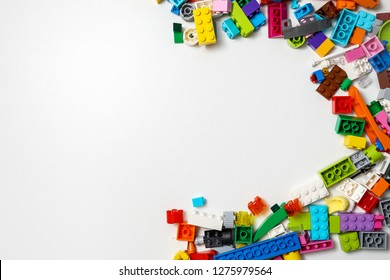 Russia , Nizhni Novgorod  - January 6, 2019: Lego is a line of plastic construction toys that are manufactured by The Lego Group. Top view with copy space