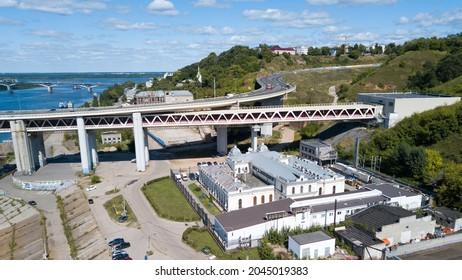 Russia. Nizhniy Novgorod. August 16, 2020. Car exit to the metro bridge across the Oka river.