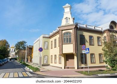 Russia. Nizhniy Novgorod. September 19, 2021. Beautiful old buildings on Slavyanskaya Street in the city center.