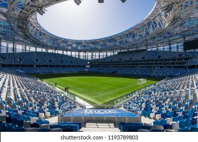Russia, Nizhny Novgorod - April 16, 2018: View of Nizhny Novgorod Stadium, building for the 2018 FIFA World Cup in Russia