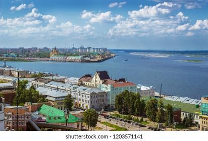 RUSSIA, NIZHNY NOVGOROD - AUG 06, 2014: Here we see the confluence of Volga and Oka. Summer day. Famous place in Nizhny Novgorod. Russia