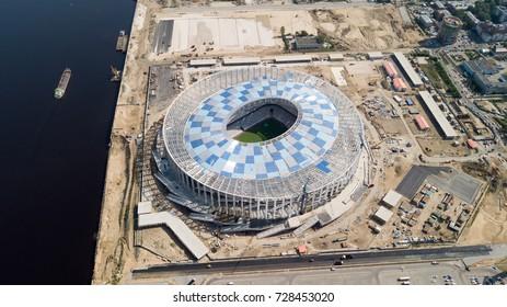 Russia, Nizhny Novgorod - August 21, 2017: View of Nizhny Novogorod Stadium, building for the 2018 FIFA World Cup in Russia