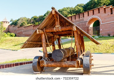 Russia, Nizhny Novgorod - August 22, 2017: The Big Museum Complex Nizhny Novgorod Kremlin. The device for the siege of fortresses. Wooden ram