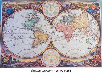 Russia. Nizhny Novgorod. February 08, 2020. Rukavishnikov Manor. An old map of the world on the wall of the study room.