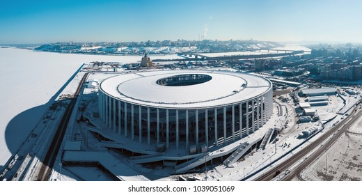 Russia, Nizhny Novgorod - February 21, 2018: View of Nizhny Novogorod Stadium, building for the 2018 FIFA World Cup in Russia