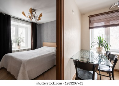 Russia, Nizhny Novgorod - January 10, 2018: Private apartment. Interior design. Modern small bedroom interior with large double bed