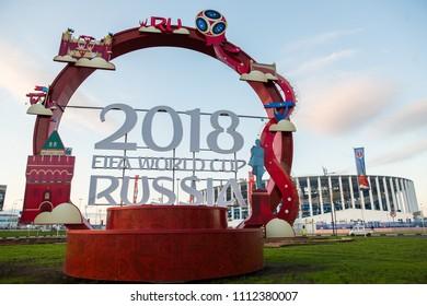 Russia Nizhny Novgorod June 13, 2018: View of the Nizhny Novgorod Stadium, one of the venues for the 2018 FIFA World Cup