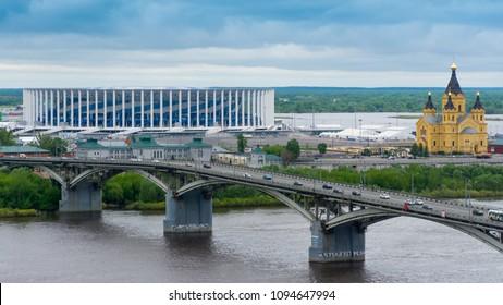 Russia. Nizhny Novgorod. May 20, 2018. Kanavinsky bridge across the Oka river.