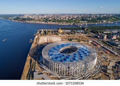 RUSSIA, Nizhny Novogorod - August, 2017: View of Nizhny Novogorod Stadium, building for the 2018 FIFA World Cup in Russia