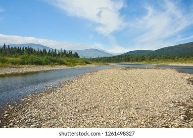 """Russia, North Ural river in the national Park. """"Virgin Komi forests"""", summer water landscape."""