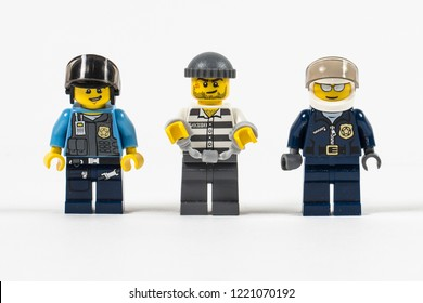 RUSSIA, nov 05, 2018. Lego criminal and policemen manufactured by The Lego Group