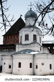 Russia. Novgorod region. Velikiy Novgorod. Church in Novgorod Kremlin (Detinets) in winter. 2006 year