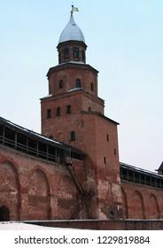 Russia. Novgorod region. Velikiy Novgorod. Novgorod Kremlin (Detinets) in winter. 2006 year