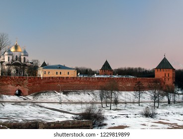 Russia. Novgorod region. Velikiy Novgorod. Novgorod Kremlin (Detinets) in winter. View from afar. 2006 year
