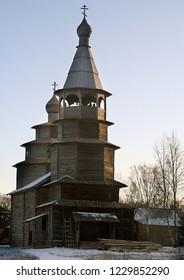 "Russia. Novgorod region. Velikiy Novgorod. Museum wooden architecture ""Vitoslavlitsy"" in winter. 2006 year"
